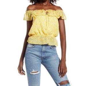 LULUS Yellow Floral Lawton Off-Shoulder Top sz XS